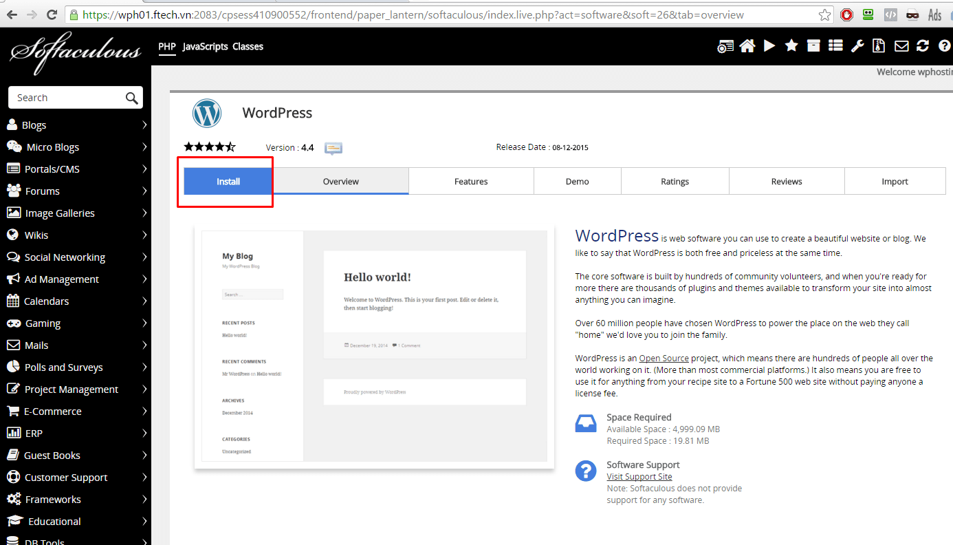 cPanel WordPress Hosting - WordPress Review